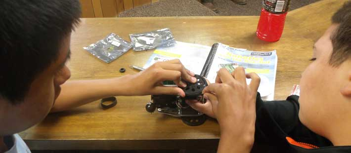 STEAM students work on Robotic Kit provided by Mario-Godoy Gonzalez